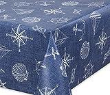 Premium Wachstuch LFGB Tischdecke für Garten und Küche, abwischbar, glatt Jeans Anker, Größe wählbar (100 x 140 cm)