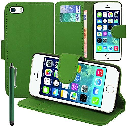 VComp-Shop® PU-Leder Handy Brieftasche mit Kartenfächer und Video-Standfunktion für Apple iPhone 5/ 5S/ SE + Mini Eingabestift - SCHWARZ GRÜN + Großer Eingabestift
