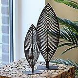 Casablanca Leuchter Palmblatt dunkelbraun Metall 2er Set B 15 x H 45 x L 9 cm gebürstet für 1 Teelicht