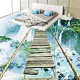 Malilove 3D-Bodenbeläge Tapeten Berg Wasserfall Spannend Seil Holzbrücke Bad Rutschfeste Wasserfeste Selbstklebende Boden400X280Cm