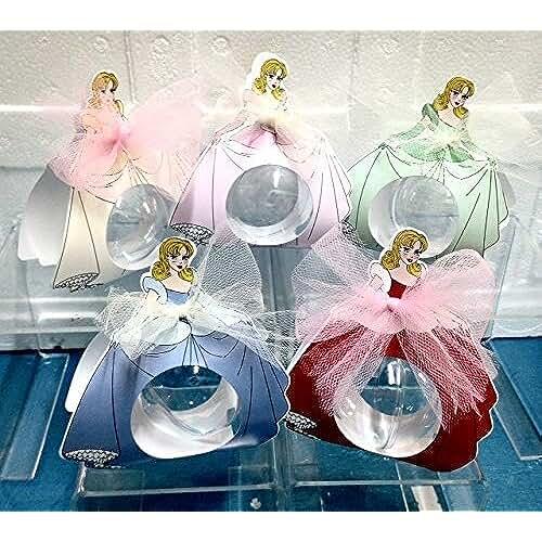 ideas regalos para comuniones kawaii STOCK10 PEZZI Design Principesse Scatola portaconfetti porta confetti con palla in plexiglass BOMBONIERA NASCITA BATTESIMO COMUNIONE CRESIMA COMPLEANNO