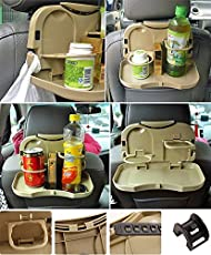 Autofier Beige Colour Car Backseat Food Travel Dining Meal & Snaks Tray & Cup Holder for Honda City
