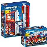 PLAYMOBIL® City Action Feuerwehr 2-teiliges Set 5361 5362 Feuerwehrstation mit Alarm + Feuerwehr-Leiterfahrzeug mit Licht und Sound