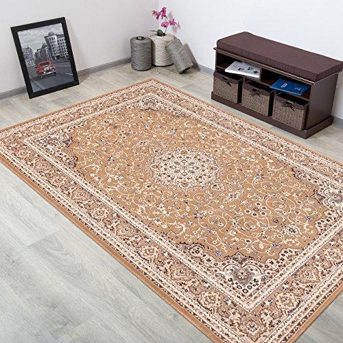 WOLLTEPPICH bester Qualität - Teppich aus Wolle ins Wohnizimmer mit Bordüre - Muster Ornamente Farbe Beige - THEATRE COLLECTION 200 x 300 cm Home-theatre-teppich