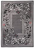 Carpeto Rugs Tapis Salon Gris 300 x 400 cm Classique Floral/Monaco Collection