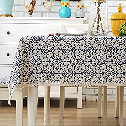 Ethnic style simple dining table rectangle tablecloth dinner picnic table cloth home decoration 55 x 70 inch