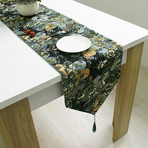 EKEA-Home Tischläufer aus chinesischem Baumwollleinen, Quaste, klassisches Blumenmuster, 1 Stück, Classic Floral, 32 * 220cm