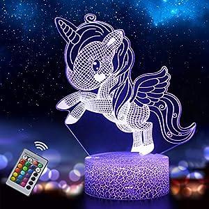 Unicornio 3D Luz Nocturna para