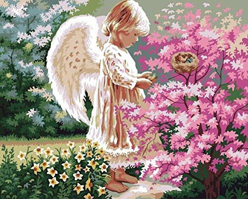 CUFUN Art - Malen nach Zahlen Kit DIY Vorgedruckte Leinwand Ölgemälde Geschenke für Kinder Erwachsene Wanddekor ohne Rahmen 40x50cm (Liebevoller Engel) -