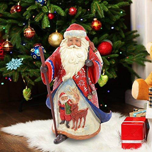 Outsunny - Raffinata Statuetta Babbo Natale con Animali in Resina Lucida Decorazione Natalizia 25 x 23 x 41cm