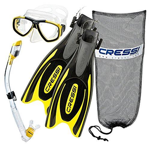 Cressi Frog Plus-Aletas con máscara de buceo seco SNORKE Set, (Buceo Snorkel Apnea Pesca Submarina Buceo Gear)