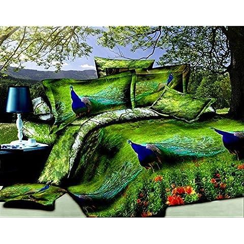 Verde / blu pavone 4 pezzi copripiumino letto, King Size 3d set di biancheria da letto , 100 % cotone, include 1 copripiumino , 1 lenzuolo , federa 2 * , non include alcun Riempitivo o Consolatore