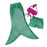 BOZEVON Mädchen Baby Meerjungfrau Badeanzug 3 Stück Set Bikini Bademode Oberteile + Kurze Hose & Meerjungfrau Schwanz Schwimmen Baden Halloween Party Cosplay Leistung Kostüm, Stil-4/140