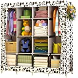 UDEAR Double Hanger Wardrobe Non-Woven Fabric Clothes Storage Organiser Cabinet (White)