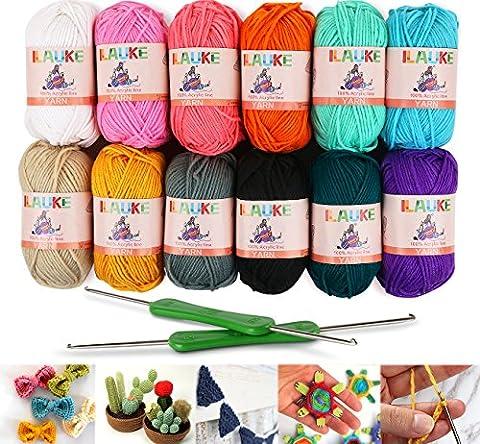 12x50g Pelotes de Laine en Acrylique Multicolores avec 2 Crochets