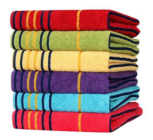 AKIN Premium MultiColor Cotton 550 GSM Hand Towels Set Of 6 (Length - 24, Width - 16)