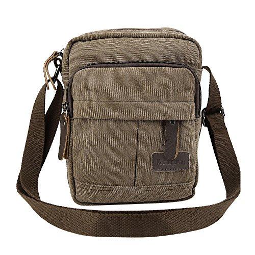 Koolertron Männer Retro Kleine Leinwand-Cross Body Handtasche 17.5x21x10 cm (grau) kaffee- groß