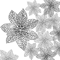 Boao 24 Pieces Glitter Poinsettia Christmas Tree Ornament Christmas Flowers Decor Ornament, 3/4/6 Inches (silver)