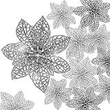 Boao 24 Pezzi Poinsettia Glitterata Ornamento dell'Albero di Natale Fiori di Natale Ornamento Decor, 3/4/ 6 Pollici (Argento)