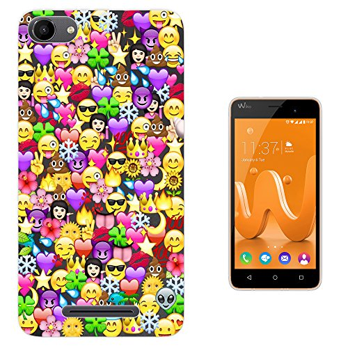 Preisvergleich Produktbild c1059 - Cool Fun Funny Emoji Wallpaper Crown Princess Poop Devil Smiley Love Heart Design Wiko Jerry Fashion Trend Silikon Hülle Schutzhülle Schutzcase Gel Rubber Silicone Hülle