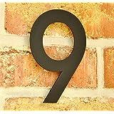 nanook Numéro de Maison 9 en acier inox revêtement poudre - anthracite - H: 15 cm, noir - gris