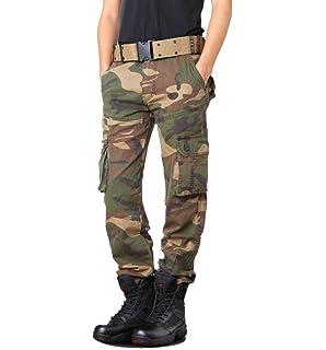 821da69b6fd Brinny Adultes Combat Pantalons Treillis Militaire Cargo Armee Pantalon de  Travail Multi Poches Coton Hasard en