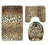 sunnymi Tiger Leopard Art WC Vorleger 49*75cm Badematte Bade Matte Rutschfester Badvorleger Badteppich,Rutschfester Sockel-Teppich + Deckel WC-Abdeckung + Badematte (B, Tarnung)