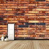 WAHAZC Große Wandbilder Seide Tapete 3D Wandgemälde PVC Tapeten Wandbild Weinlese Stein Ziegelstein Wand Kunst Wand Papier für rote Steinwand Papier Wandbild Tapete im chinesischen Art Fernsehhinter