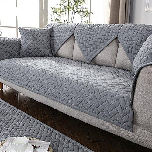 DW&HX Sofa abdeckung Baumwolle Gesteppter Sofa Überwurf Schnitt Retro Anti-rutsch Schmutzresistent Einfarbig Sofahusse Kissen abdeckungen Für Wohnzimmer -grau - Kissen-abdeckungen Gesteppte Baumwolle