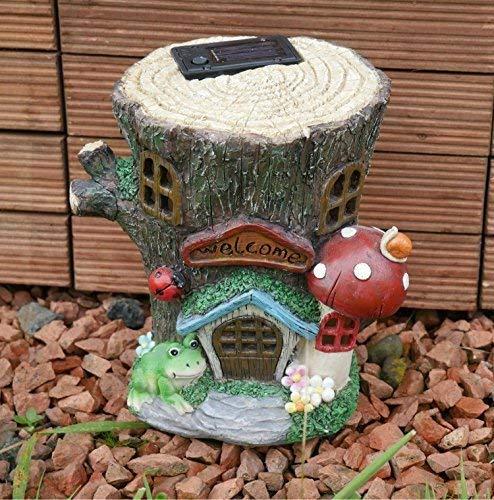 Garden Mile Farbenreich Gartenzwerg Aufleuchtend Fliegenpilz Fee Haus Solar Aufleuchtend Auf Dämmerung Feengarten Baum Haus Solar Beleuchtung Dekorativ Gartenzwerg Figur Garten Solarlampen -