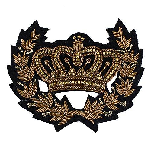 EMDOMO 1 Stück indische Seide Gold Krone Biene Hahn Gold Katze Pferd Schulter Abzeichen Motive Stickerei Patches T-Shirt Kleidung Dekoriert Nähzubehör, L, Large Hahn Patch