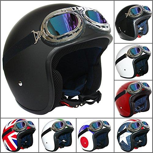 Leopard-LEO-604-Casco-Jet-and-Demi-Jet-Moto-Motocicletta-Scooter-ECE-22-05-Approvato-Occhiali-da-Moto-Iridium