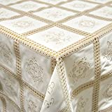 Vinyl Tablecloth with Floral Lace in Beige Length Can Be Selected, Plastic, various colours, Rolle 20mx132cm