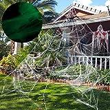 Unomor Halloween Spinnennetz Dekoration Leuchten im Dunkeln, Halloween Deko für draussen, Garten, Hof - 23X19ft