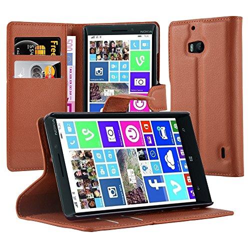 Cadorabo Hülle für Nokia Lumia 929/930 Hülle in Schoko braun Handyhülle mit Kartenfach und Standfunktion Case Cover Schutzhülle Etui Tasche Book Klapp Style Schoko-Braun