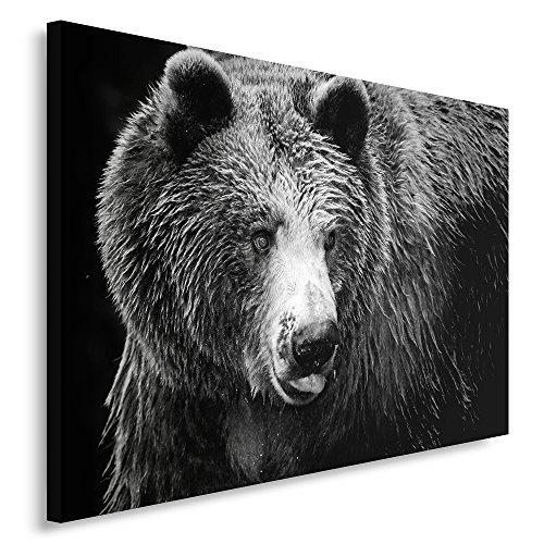 Feeby Frames, Tableau seul panneau , Tableau imprimé xxl, Tableau imprimé sur toile, Tableau deco, Canvas 70x100 cm, OURS, NOIR ET BLANC