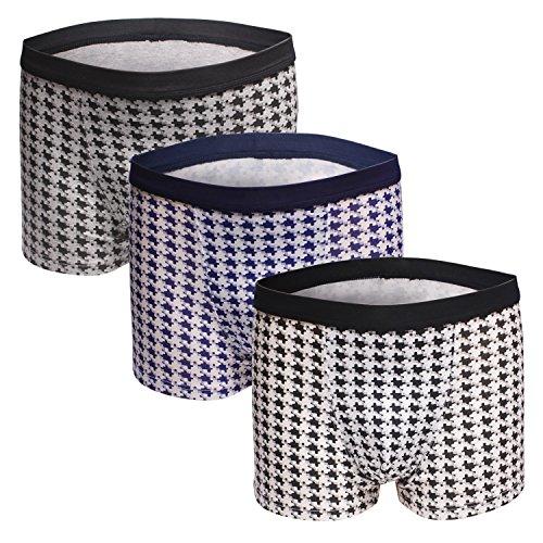 Dingbear L Unterwäsche Herren von Pack 3 Trunk Shorts Modal elastische Taille atmungsaktiv Designer Boxershorts Trunks Comfort Fit (Microfiber Elastische Taille Trunk)