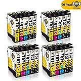 T0711 T0712 Tintenpatronen CMYBabee Ersatz für Epson T0713 T0714 T0715 High Yield Kompatibel mit Epson Stylus SX218 SX515W SX400 SX200 D78 D92 D120 DX4000 DX4050 DX4400 DX4450 DX6050 DX7000F DX7400 DX8400 SX115 SX205 SX209 SX210 SX215 SX405 SX405WiFi SX510W BX600FW Drucker 20-Pack (8*Schwarz, 4* Blau, 4*Rot, 4*Gelb)