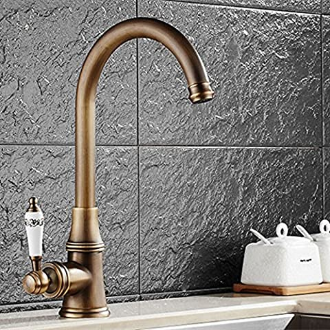 Tourmeler Single Hole Antique Bathroom Basin Mixer Tap With Brass Kitchen Faucet And Deck Mounted Gold Basin Sink Mixer Tap