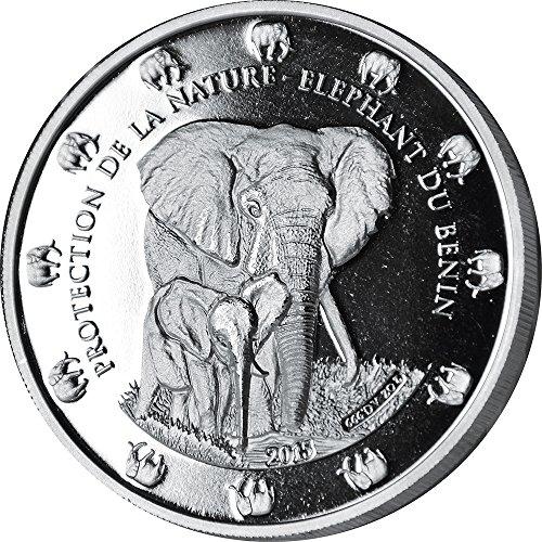 THE BENIN ELEPHANT Proof Protection De La Nature 2 Oz Silver Coin 1500 Francs Benin 2015 Münze