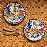 ExclusiveLane 'The Hut Couple' Hand-Painted Ceramic Quarter Plates (7 Inch, Set Of 2) - Ceramic Plates Set For Dinner Rice Plate For Serving Side Plates Dessert Quarter Plate Full Plates Dinner Set Dinner Plates Set Of 2 Snacks Serving Breakfast Plates Ta