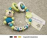 Baby Greifling Beißring geschlossen mit Namen | individuelles Holz Lernspielzeug als Geschenk zur Geburt & Taufe | Jungen Motiv Bär und Eule in lemon
