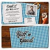 Einladungskarten zum Geburtstag (80 Stück) Hüttengaudi mit eigenem Foto Blau Oktoberfest