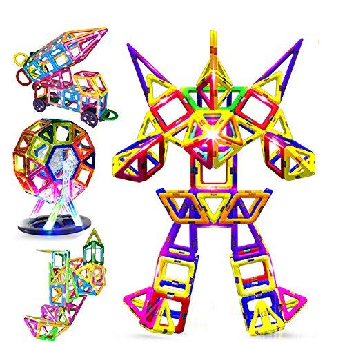 95PCS Creative magnetisch Bausteine für Jungen Mädchen magnetisch Fliesen bauen Set Vorschule Educational Bausatz Magnet Stapeln Spielzeug Weihnachtsgeschenk für Kinder Kleinkinder Kinder (Kunststoff-modell-kits Flugzeuge)
