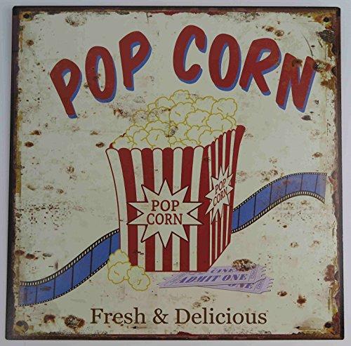 Blechschild POPCORN Fresh & Delicious Nostalgie Antik KINO Popcorn Werbung Retro Shabby Chic Wohnzimmer Filmeabend