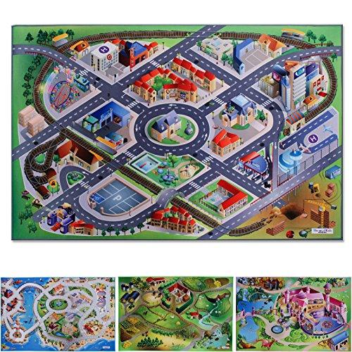 Spielmatte In der City | Straßen und Häuser | Phthalat-frei | erweiterbar zu einer riesigen Spiellandschaft | 100 x 150 cm