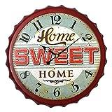 Preis am Stiel Wanduhr Kronkorken - ''Home Sweet Home'' | Retro | Uhr Herren | Design | Wanduhr Vintage | für Wohnzimmer | Dekoration | Schmücken | Küchenuhr