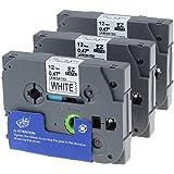 3 x Ruban Cassette Laminé TZ Tape Compatible avec Brother TZe-231 / TZ-231 12mm x 8m Noir sur Blanc pour Brother P-Touch PT-1000 PT-1010R PT-2030VP PT-2430PC PT-D600VP PT-E100