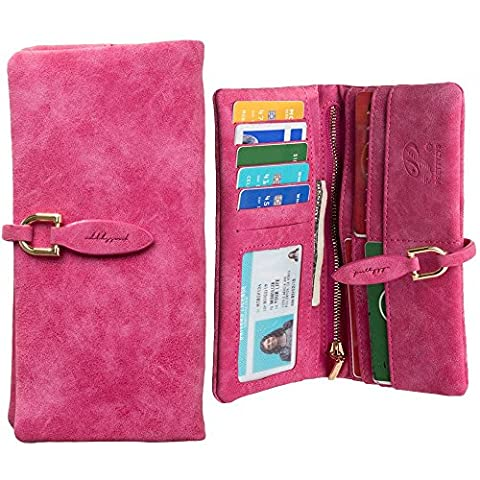 CellularOutfitter Slim Suede Leather Clutch Wallet - Extra Slot for Smartphone, Vintage Design - Hot