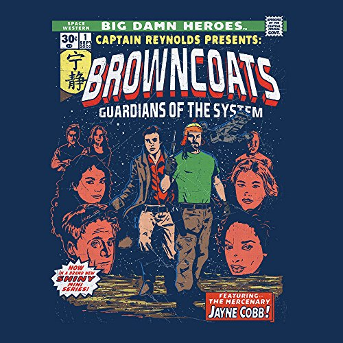 Browncoats Big Damn Heroes Firefly Serenity Comic Book Men's T-Shirt Navy Blue